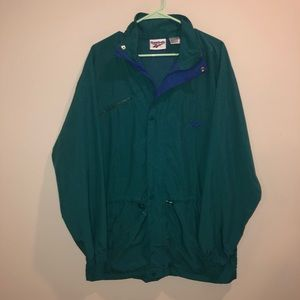 Reebok Windbreaker Rain Jacket teal Vintage nylon